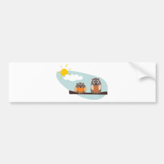 Funny owls on branch on sunny day bumper sticker