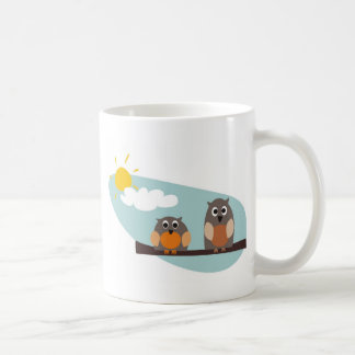 Funny owls on branch on sunny day illustration coffee mug