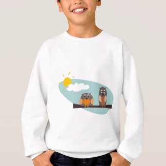 Funny owls on branch on sunny day illustration sweatshirt