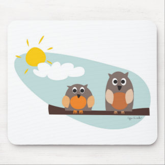 Funny owls on branch on sunny day mouse pads