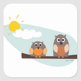 Funny owls on branch on sunny day square sticker