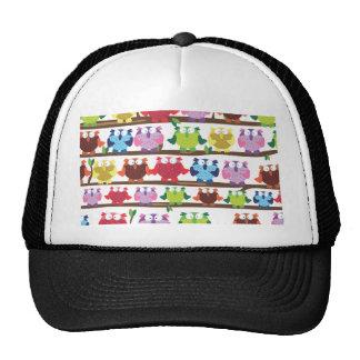 Funny Owls sitting on a brach pattern Hats
