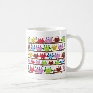 Funny Owls sitting on a brach pattern Coffee Mugs