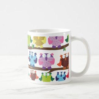 Funny Owls sitting on a brach pattern Coffee Mug