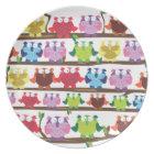 Funny Owls sitting on a brach pattern Plate