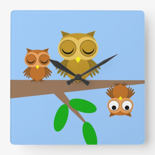 funny owls square wall clock