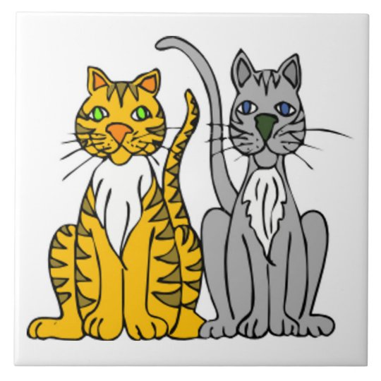 Funny Pair of Cartoon Tabby and Grey Alley