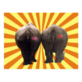 Funny Pair of Rhinos Kiss My Ass Retro Postcard