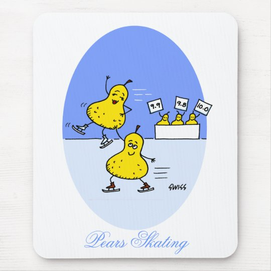 Funny Pairs Skating Cartoon Pears Ice Skaters Mouse Mat