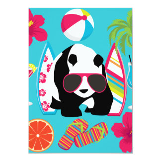 Funny Panda Bear Beach Bum Cool Sunglasses Surfing 13 Cm X 18 Cm Invitation Card