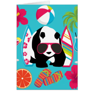 Funny Panda Bear Beach Bum Cool Sunglasses Surfing Card