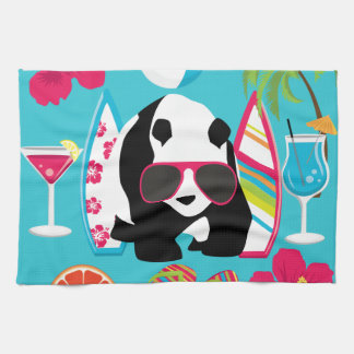 Funny Panda Bear Beach Bum Cool Sunglasses Surfing Tea Towel