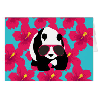 Funny Panda Bear Beach Bum Cool Sunglasses Tropics Card