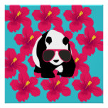 Funny Panda Bear Beach Bum Cool Sunglasses Tropics Poster