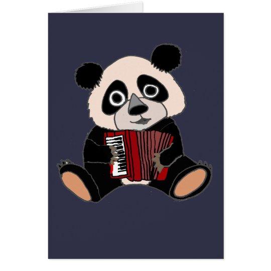 Funny Panda Bear Playing Accordion Card