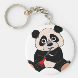 Funny Panda Bear Plying Red Clarinet Basic Round Button Key Ring