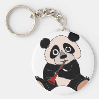 Funny Panda Bear Plying Red Clarinet Basic Round Button Key Ring