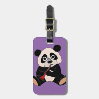 Funny Panda Bear Plying Red Clarinet Luggage Tag