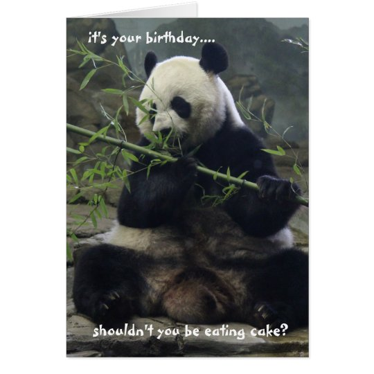 Funny Panda Birthday Card, Eat Cake, not bamboo!