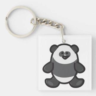 Funny Panda on White Double-Sided Square Acrylic Key Ring