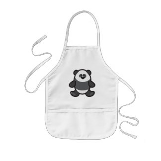 Funny Panda on White Kids Apron