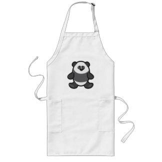 Funny Panda on White Long Apron