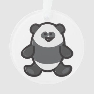 Funny Panda on White Ornament
