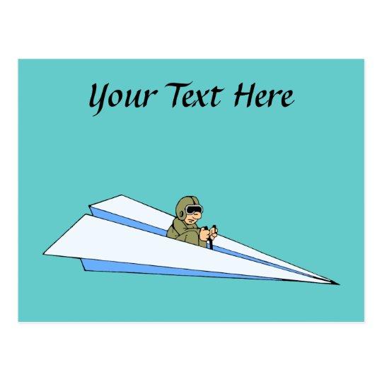 Funny Paper Aeroplane Pilot Postcard