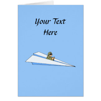 Funny Paper Airplane Pilot Greeting Card