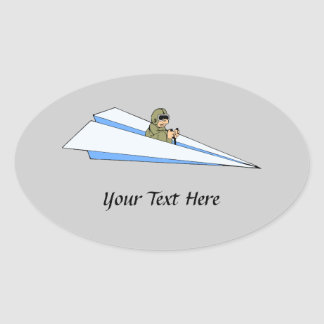 Funny Paper Airplane Pilot Oval Sticker