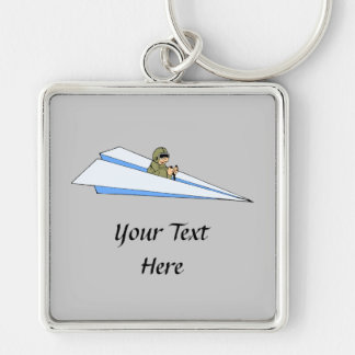 Funny Paper Airplane Pilot Silver-Colored Square Key Ring