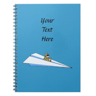 Funny Paper Airplane Pilot Spiral Notebook