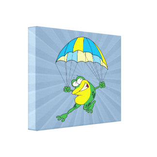 funny parachuting froggy frog cartoon gallery wrapped canvas
