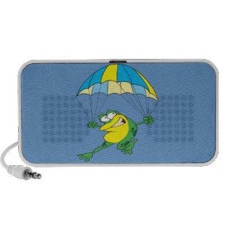 funny parachuting froggy frog cartoon travelling speaker