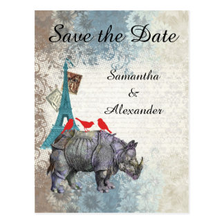 Funny Paris collage save the date Postcard