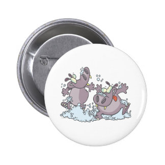 funny party animal hippos in suds cartoon 6 cm round badge
