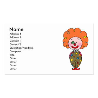 Funny party clown with orange hair business card templates