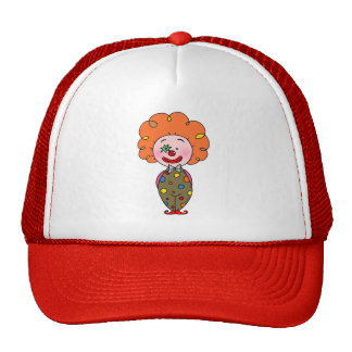 Funny party clown with orange hair mesh hats