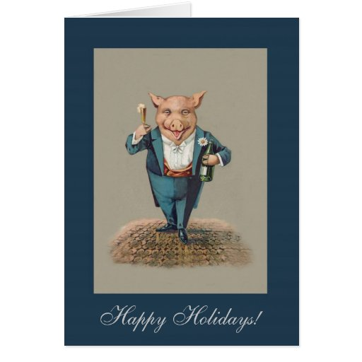 Funny Partying Pig - Cute Animal Holiday/Christmas Cards