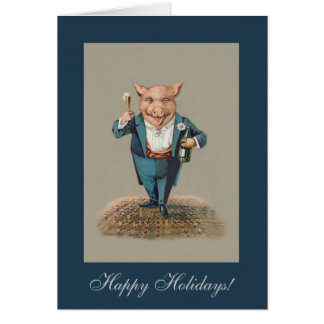 Funny Partying Pig - Cute Animal Holiday/Christmas Greeting Card