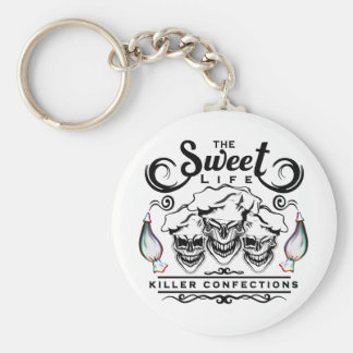 Funny Pastry Chef Skulls: The Sweet Life Basic Round Button Key Ring