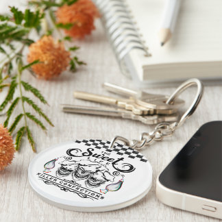 Funny Pastry Chef Skulls: The Sweet Life Double-Sided Round Acrylic Key Ring