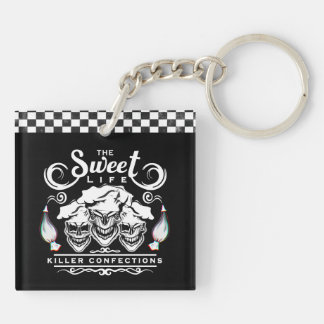 Funny Pastry Chef Skulls: The Sweet Life Double-Sided Square Acrylic Key Ring