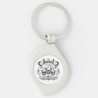 Funny Pastry Chef Skulls: The Sweet Life Silver-Colored Swirl Metal Keychain