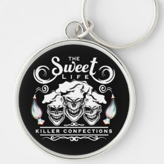 Funny Pastry Chef Skulls: The Sweet Life Silver-Colored Round Key Ring