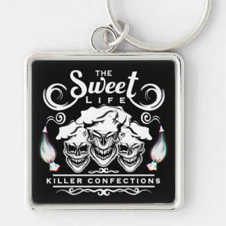 Funny Pastry Chef Skulls: The Sweet Life Silver-Colored Square Key Ring