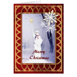 Funny  patriotic American snowman  christmas Greeting Card