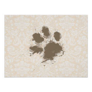 Funny Paw Print on Antique White Damask