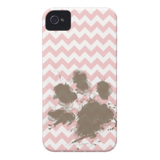 Funny Paw Print on Baby Pink, Light Pink Chevron iPhone 4 Case-Mate Cases