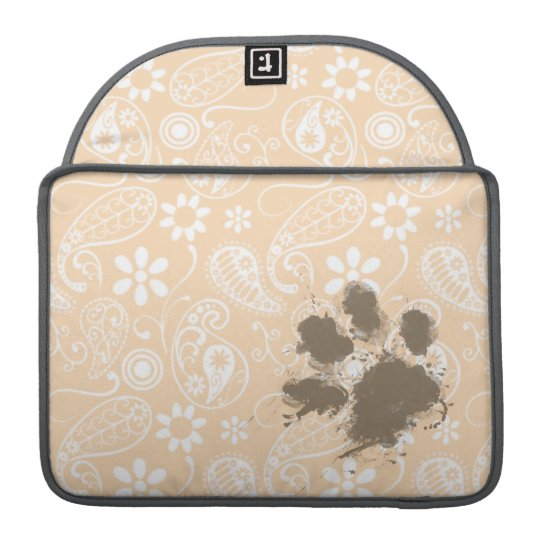 Funny Paw Print on Bisque Colour Paisley; Floral Sleeve For MacBook Pro
